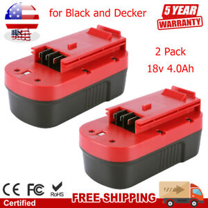 2 Pack NiCd Battery for Black and Decker HPB18-OPE 244760-00 A1718 FS180BX Tools