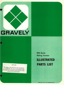 GRAVELY LAWN TRACTOR 800 SERIES RIDING MOWER ILLUSTRATED REPAIR PARTS LIST  $5.00