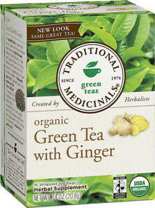 Organic Green Tea with Ginger, Traditional Medicinals,