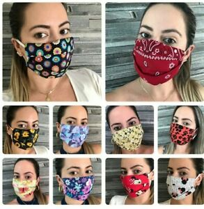 32 Styles Fashion Filter Pocket 100%Cotton Face Mask Washable Double Cotton USA  $12.89