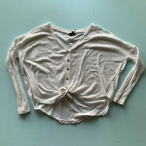Out From Under Womens LS Cropped Button Up Waffle Tie Bottom Cardigan White XS $15.00