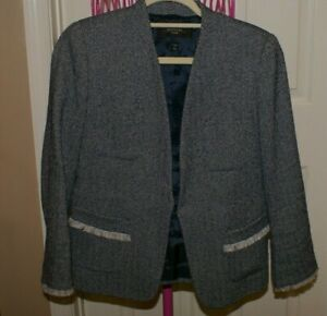 Max Mara Weekend Tweed Style Jacket Size 10 NAVY WHITE TWEED LINED OPEN FRONT