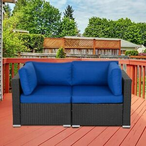 2PCS Outdoor Wicker Corner Sofa Set with Cushion Sectional Couch Patio Furniture