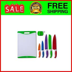 12Piece Colored Sharp Knife Set: 5 Stainless Steel Kitchen Knives with Covers