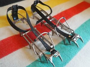 VTG LOWE CAMP Crampons 1990s Adjustable Straps 12 Point Silver Black ITALY EUC $49.95