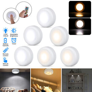 6pcs Home LED Puck Closet Wall Light Under Cabinet Lighting & Remote Dimmable