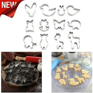 Stainless Steel Cookie Cutter Set Biscuit Cookies Pastry Mold Cake Decor 12 pcs