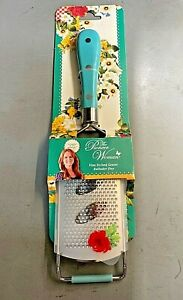 Pioneer Woman Handled Fine Etched Grater Teal Turquoise & Floral Sheath NEW