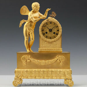 Neo classical ormolu mantel clock with automaton Apollo lures the butterfly 1830