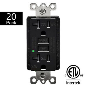 20PK 20A GFCI Outlet Receptacle with Wall Plate LED Indicator ETL Listed Black
