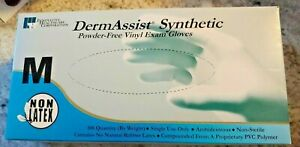 DermAssist Vinyl Gloves Med 100 per box Powder Free Latex Free Medical Gloves