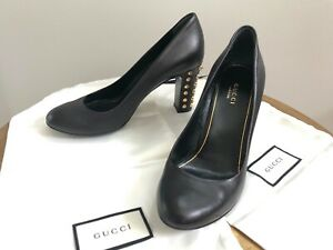 Auth. Gucci Black Studded Block Heel Round Toe Heel Pump Shoe sz 37.5
