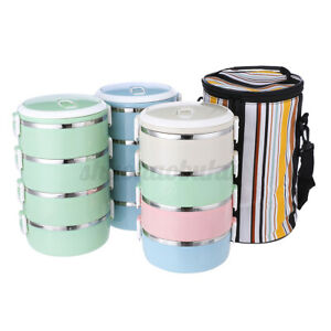 4 Layer Stainless Thermo Insulated Thermal Food Container Bento Lunch Box /