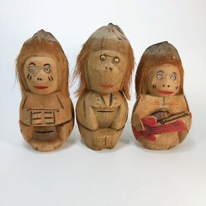 """Vintage Coconut Monkey Banks 11"""" tall each Set Of 3"""