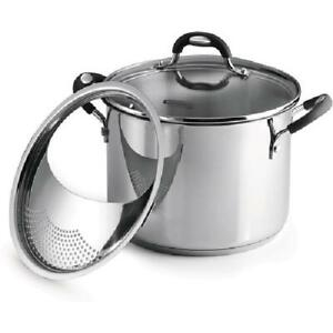 Stainless Steel Lock-N-Drain 6 QT Covered Stock Pot 3-Count Home Kitchenware