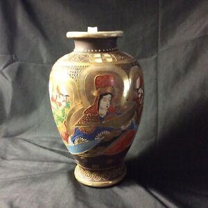 VTG antique Japan Satsuma Style Moriage Immortals Hand Painted Vase 95 signed