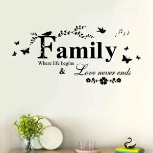 Family Butterfly Flower Art Vinyl Quote Wall Stickers Decals Room Home  Decor US