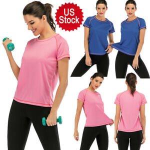 USA Quick Dry Slim Fit Sports Yoga T Shirts Running Short Sleeves Tee for Women $8.99