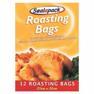 12 x Sealapack Turkey Chicken Meat Roasting Bags Oven Cooking bags 25 x 38cm