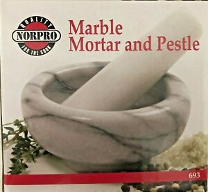 Norpro Marble Mortar & Pestle Grinder for Spices Herbs Nuts Food White NEW