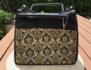 Fit & Fresh Lunch Bag Tote Insulated Black Gold Classic Pattern Handles Snap New