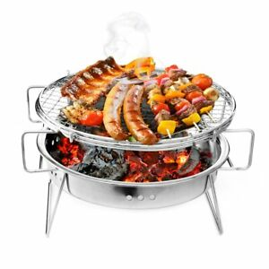 Portable Folding Barbecue BBQ Charcoal Grill Stainless Steel Patio Camping