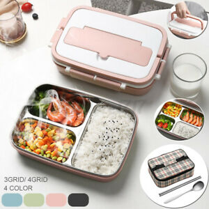 Stainless Steel Thermos Thermal Lunch Box Bento Food Container Handle Kids