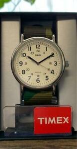 AUTH Timex watches Rare color with camouflage belt Indiglo Night Light with box