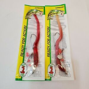 Creme Lure Pre Rigged Weedless 6quot; Red amp; Live Scoundrel Bass Fishing Worm 2 Pk