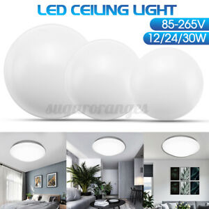 Modern Round Ceiling Lights 12/24/30W 14.7'' LED Mount Fixture Wall Lamp Bedroom