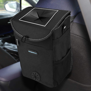 Car Trash Can With Lid And Storage Pocket Leakproof Car Garbage Can Portable Aut