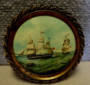 Miniature Antique Ship Seascape Painting Round In Brass Frame BS $199.99