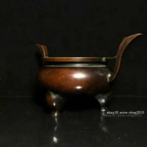 22.5cm Marked China Old Bronze Copper Three feet Incense burner censer AHHH