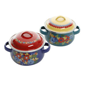 Dazzling Dahlias 1-Quart Mini Dutch Oven Set of 2 steel enamel Multicolor NEW