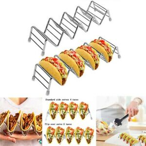 2Pcs Wave Shape Stainless Steel Taco Holders Mexican Food Rack Shell 4 to 5 Taco