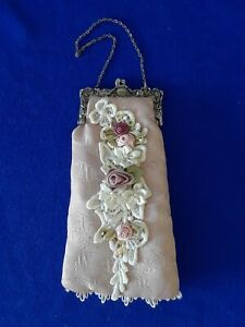 Vintage purse fabric with flowers pale pink $10.25