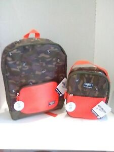 New Oshkosh Boys Backpack & Lunchbox Astronaut Camo Kid Boy Green Brown Orange