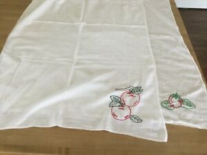 Vintage hand embroidered cotton dishtowels apple and strawberry