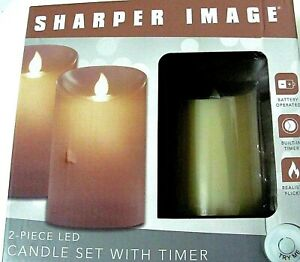 Sharper Image Battery Operated 2 piece LED Candle Set with Built In Timer.