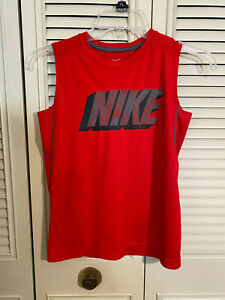 Boy's Youth Nike Dri Fit Red Polyester Sleeveless Shirt Tank Top Sz Small $7.19