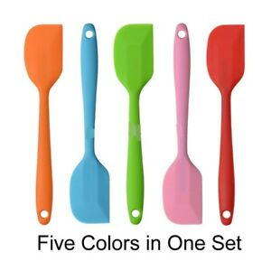Small Silicone Spatula Stainless Steel Core Heat Resistant Non stick 5 pcs