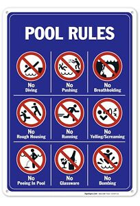 Pool Rules Sign - 10x14 - pool sign - Funny Pool Decor - Swimming Pool Sign