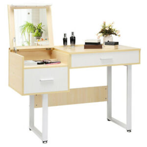 VANITY DRESSING MAKEUP TABLE Square Flip Top Mirror Desk Drawer Storage White