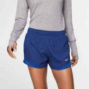 New Nike Women's Dry Tempo Running Training Shorts Sz L $30 Blue Grid $24.99