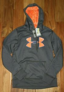 New Under Armour Womens Sweatshirt Hoodie Storm Small Loose Fit Gray Orange Dry $16.75