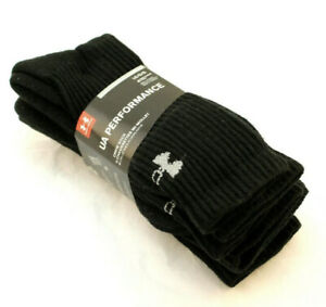 New UNDER ARMOUR Performance 4 Pr Size Men's Large 9 12.5 Black Crew Socks $14.79