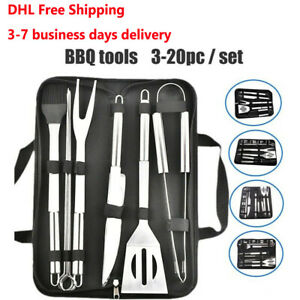 3-20Pcs BBQ Grill Cooking Utensils Stainless Steel Tool Barbeque Portable Case