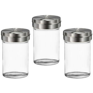 3pcs Transparent Durable Glass Spice Pot Salt Jar Condiment Bottle for Barbecue