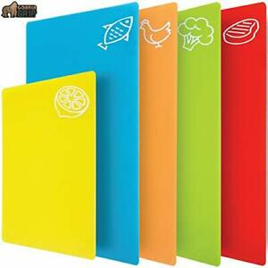 Flexible Plastic Cutting Boards And Durable Chopping Mats Multicolor Pack Of 4 $15.07