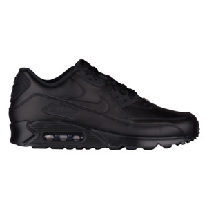 Men's Nike Air Max 90 Leather Triple Black 302519 001 Running Shoes $113.99